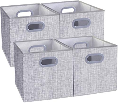 Homyfort Cloth Storage Bins, Foldable Cubes Box Basket Organizer Container Drawers with Dual Plastic Handles for Closet, Bedroom, Toys,Set of 4 Light Grey 13