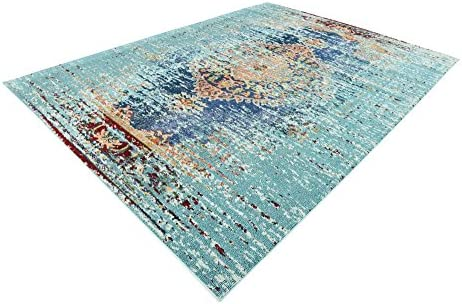 Unique Loom Vita Collection Traditional Over-Dyed Vintage Turquoise Area Rug 9 0 x 12 0