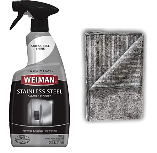Microfiber Stainless Steel Cloth - Weiman Stainless Steel Cleaner and Polish - 22 Ounces [Large Microfiber Cloth] - Appliance Surfaces Leave Behind A Brilliant Shine