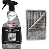 Weiman Stainless Steel Cleaner and Polish - 22 Ounces [Large Microfiber Cloth] - Appliance Surfaces Leave Behind A Brilliant Shine