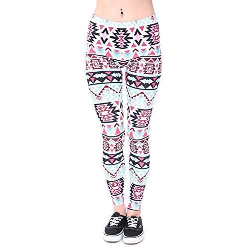 Minetom Cintura Elásticos Yoga Sport Pantalones Deportivas de Alta Cintura Impreso Stretch Fitness Leggings Multicolor 02