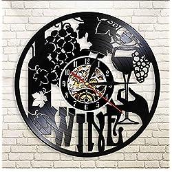 Zrgwl Wine Logo Wall Clock Winery Bottle Glass Grape Vine Drink Drinking Alcohol Liquor Pub Bar Label Emblem Vinyl Record Wall Clock