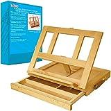 US Art Supply Solana Adjustable Wood Desk Table Easel with Storage Drawer, Premium Beechwood