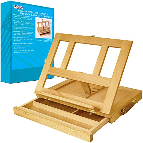 Box Table Easel (US Art Supply Solana Adjustable Wood Desk Table Easel with Storage Drawer, Premium Beechwood)