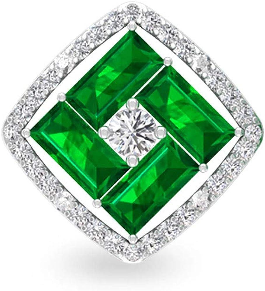 Pendiente de piedra de 1,4 ct, con certificado IGI de 0,45 ct, con halo de diamante, claridad de color IJ-SI, pendiente de diamante de Baguette, tornillo hacia atrás