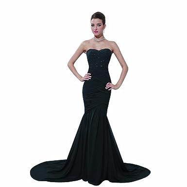 Dearta Womens Mermaid Sweetheart Court Train Prom Dresses US 2 Black