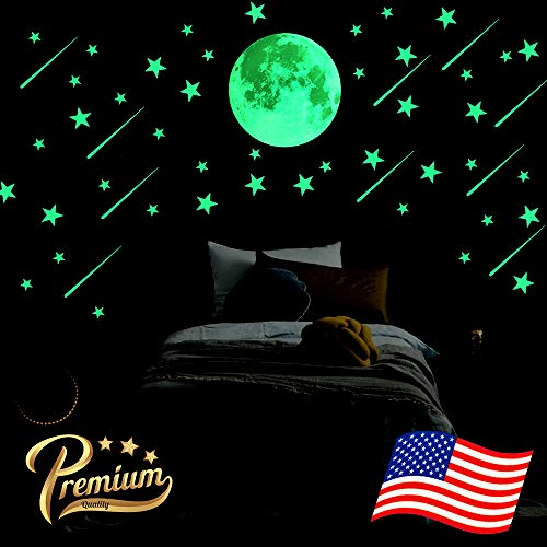 Big Bright Glowing Moon, 12 inch Full Moon + Bonus Set of Glow in The Dark Stars, Meteors || Premium Luminous Wall Sticker Decals for Kids Home Room Decorations]()