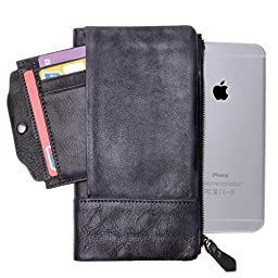ZLYC Vintage Handmade Dip Dye Leather Long Clutch Wallet Purse with Removable Card Holder, Gray