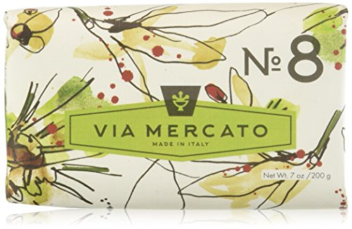 Via Mercato Italian Soap Bar (200 g), No. 8 - Clove, Vanilla Flower and Orange