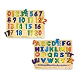 : Melissa & Doug Sound Puzzles Set: Numbers and Alphabet - Wooden Peg Puzzles