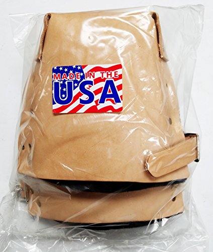 TA309X-1, Double Felt Padded Leather Knee Pads w/1'' Leather Strap, Made in USA by R & J Leathercraft