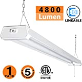 hanging led shop light - LED Shop light for garages,4FT 4800LM,42W 5000K Daylight White,LED ceiling light, LED Wrapround light, With Pull Chain (ON/OFF),Linear Worklight Fixture with Plug, cETLus Listed 1PACK 50K