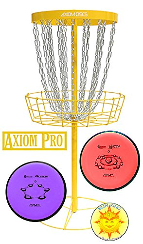 Axiom Pro Disc Golf Basket (Yellow) + 2 Discs + Sun King Sticker by Axiom