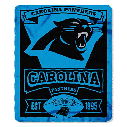 NFL Carolina Panthers Marque Printed Fleece Throw, 50-inch by 60-inch, Carolina Panthers, 50 x 60""