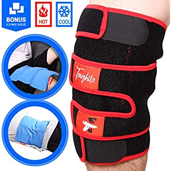 Hyperflex360 Knee Ice Pack Wrap - Compression Knee Wraps for Pain, Swelling, and Recovery with 3 Reusable Hot/Cold Gel Packs + Ice Pack Sleeve - Comfy Ice Pack for Knee with Wrap by Toughito