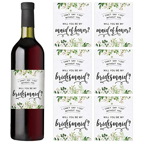 Bridal Party Wine Bottle Labels, Set of 7 Wine Bottle Labels, 2 Maid of Honor Labels and 5 Bridesmaid Labels, Bridal Party Favors, Ideas, and Gifts, I Can't Say I Do Without You -