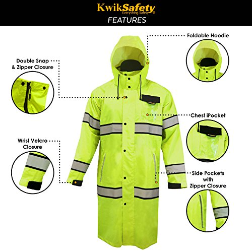 KwikSafety (Charlotte, NC) TORRENT Class 3 Safety Trench Coat | High Visibility Waterproof Windproof Safety Rain Jacket | Hi Vis Reflective ANSI Work Wear | Rain Gear Hideaway Hood Carry Bag | Large by KwikSafety (Image #6)