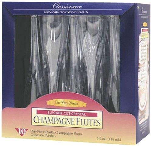 Classicware 1-Piece Plastic Champagne Glasses, 5 Ounce, Clear (60-Count) by Classicware