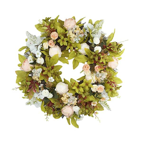 Delicaft Artificial Peony Flower Door Wreath – 16″ Pink Flower Summer Wreath with Green Leaves Fall Wreath for Front Door, Wedding, Wall, Home Decor