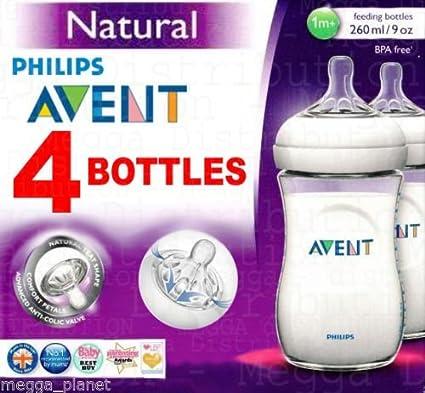 Biberones naturales con válvula anticólicos Philips Avent, 4 unidades, sin plásticos BPA, 260 mlPara combinar lactancia materna y con biberón.