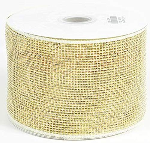 - EXPRESSIONS 4 Inch Ivory with Gold Metallic Ribbon 25 Yards