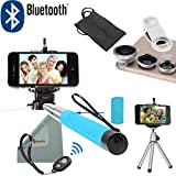 Rasfox® [Best Travel Kit] Extendable Universal Handheld Selfie Stick Monopod with Bluetooth remote shutter + Mini Tripod + 3 CellPhone Camera Lens for iPhone 4s 5 5c 5s 6 6 Plus Samsung Galaxy S2 S3 S4 S5 S6 Note 2 3 4 HTC Sony LG and more (Blue)