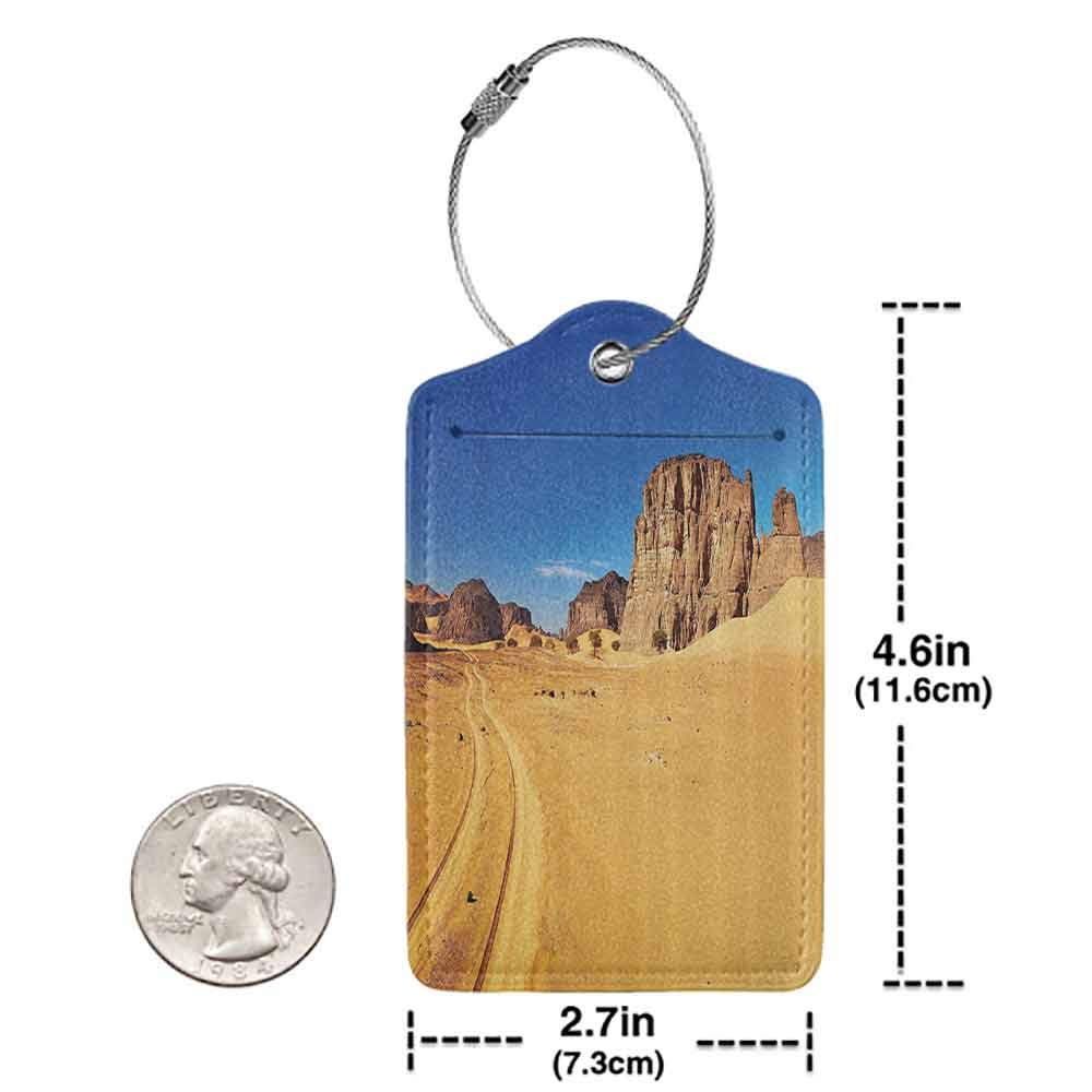 Multicolor luggage tag Apartment Decor Desert Landscape with Rocks and Sky Tadrart Algeria Africa Sahara Dry Weather Image Hanging on the suitcase Blue and Apricot W2.7 x L4.6