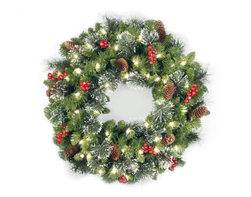 National Tree 24 Inch Crestwood Spruce Wreath with Silver Bristles, Cones, Red Berries, Glitter and 50 Clear Lights (CW7-306-24W)