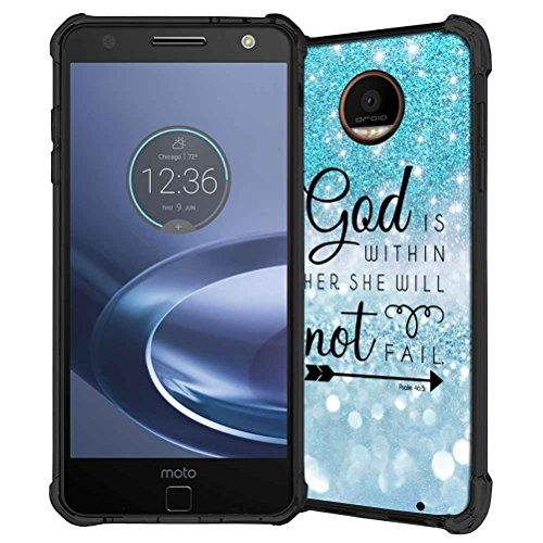 Moto Z Force Case, ABLOOMBOX Teal Sparkle Glitter Texture Pattern Shock Absorption Soft Bumper Slim Rubber Protective Case Cover for Motorola Moto Z Force Droid Edition