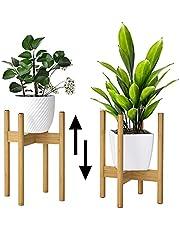 Verstelbare plantenstandaard set van 2 bamboe bloemstandaard plantenpothouder displaystandaard voor buiten en binnen
