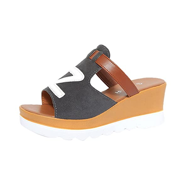 Chanclas Mujer Piscina,YiYLinneo Moda Mujer Chanclas Sandalias Cuñas De Color SóLido Zapatos Peep Toe Flatform Zapatilla Antideslizante Shoes: Amazon.es: ...