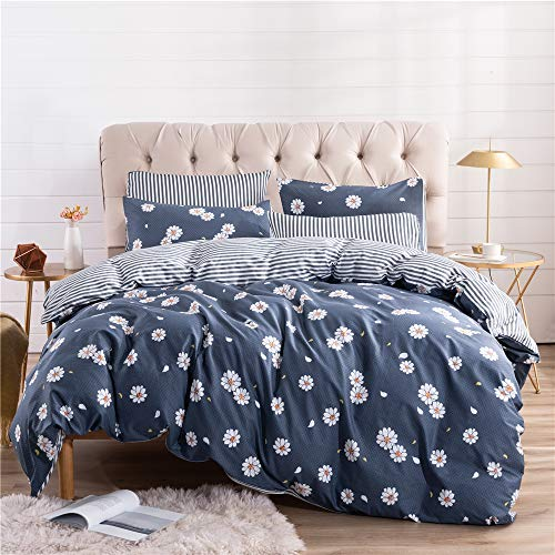 PinkMemory Twin Duvet Cover Set Kids Adult Floral Daisy Striped Bedding Set Navy Blue 100% Cotton Reversible Design with Pillowcases Corner - Daisies Bedding