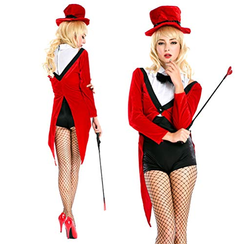 YRE Red Festive Magician Tuxedo Set, Cosplay Nightclub DS Stage Costume, Halloween Costume (Average Code)
