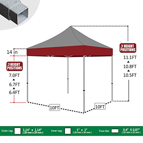 Eurmax 10x10 ft commercial ez pop up canopy party tent for 10x10 in square feet