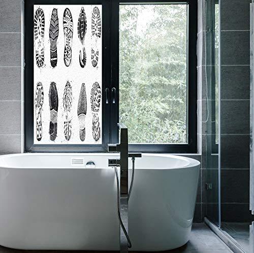 (C COABALLA Stained Glass Window Film,Grunge Decor,for Bathroom Shower Door Heat Cotrol Anti UV,Set of Various Shoe Tracks Human Foot Damaged,24''x48'')
