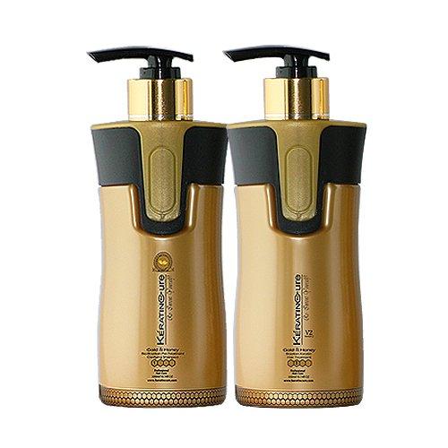 Keratin Cure Professional Brazilian Hair Treatment V2 Creme Brazilian Hair Treatment 2 Piece Pro kit #1 Clarifying Shampoo # 2 Gold & Honey 300 ml / 10 Fl Oz Wash the Same Day by Keratin Cure