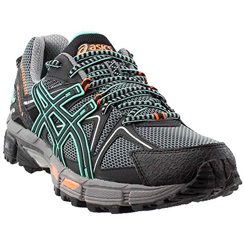 ASICS Womens Gel-Kahana 8 Running Shoe, Black/Ice Green/Hot Orange, 8 Medium US