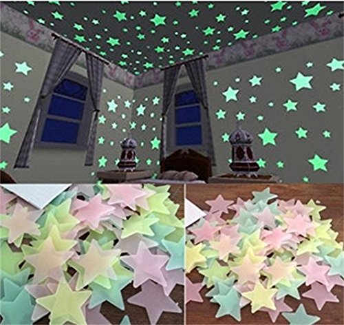 200PCS Glow in the Dark Wall Stickers Stars Decals for Home Ceiling Wall Decorate Baby Kids Gift Best Gifts Nursery Room By LW Funny Toys (In Decals Glow Wall Dark That)