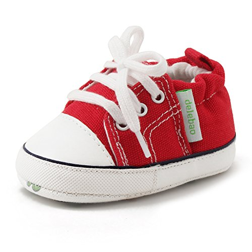 Baby Shoe Infant Red Sneakers (Delebao Baby Soft Soled Canvas Anti-skid Infant Toddler Sneaker Shoes (0-6 Months, Red))