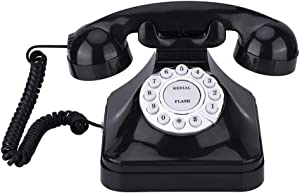Wendry Retro Home Telephone, Vintage Black Multi Function Plastic Wire Landline Phone, Muti-Function Such as Flash, Re-Dial and Reserve
