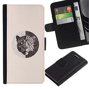 All Phone Most Case / Oferta Especial Cáscara Funda de cuero Monedero Cubierta de proteccion Caso / Wallet Case for Sony Xperia Z1 Compact D5503 // tigre simbolismo lápiz bosquejo color beige