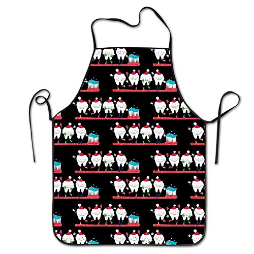 - Remain Unique Aprons Dentist Christmas Tooth Pattern Apron for Cooking Gardening Waterproof Bib BBQ Unisex Durable Creative Standar Uniform Size Pinafore