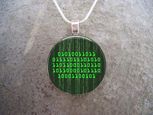 - Bloody devil Geek Art Picture Necklace,Binary ASCII Pendant - Translates to Soulmate for Your Nerdy Loved One - 1 Inch Diameter Pendant -
