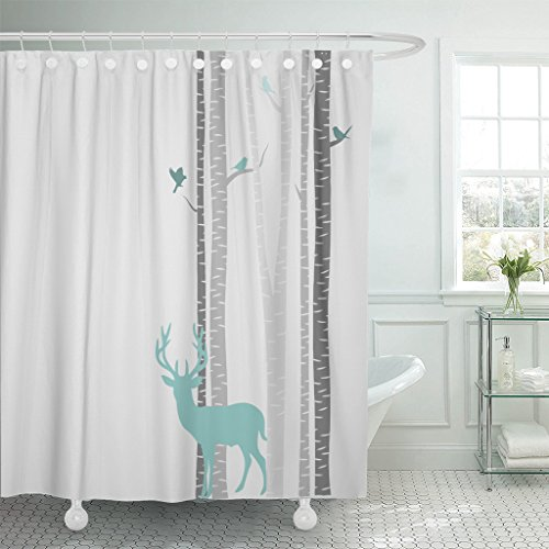 Accrocn Waterproof Shower Curtain Curtains Fabric Decors Birch Trees with Mint Deer 60x72 Inches Decorative Bathroom Odorless Eco Friendly ()