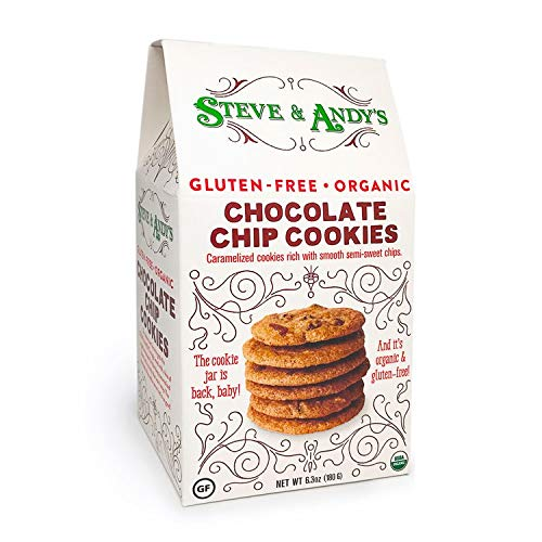 - Organic Chocolate Chip Cookies, Gluten Free by Steve and Andy's - Crispy and Crunchy Cookie, Non GMO, No Corn Syrup, No Tree Nuts, Kosher (Chocolate Chip, 1 Box)