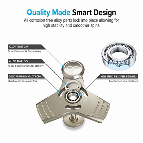 Silver Fidget Spinner toy, Metal Aluminum Alloy Tri Spinner with stainless Steel Bearings which helps to increase focus, relieves stress, anxiety, and boredom. Fidget Spinner + Metal Carrying Case