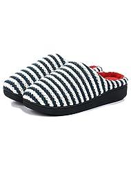 Unisex Slip on Slippers Happy Lily Antislip Sandal Memory Foam Mules Knitted&Fleece Shoes Vintage Boho Style, Men's Size - PERFECT XMAS GIFT