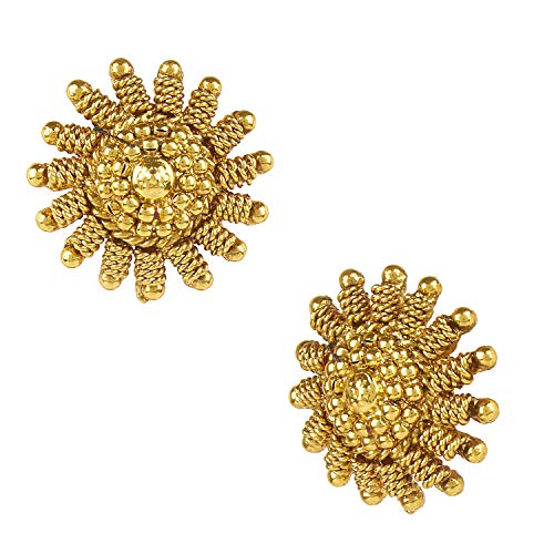 (Bodha Indian Bollywood 22K Traditional Gold Stud Earrings For Women (SJ_1435))