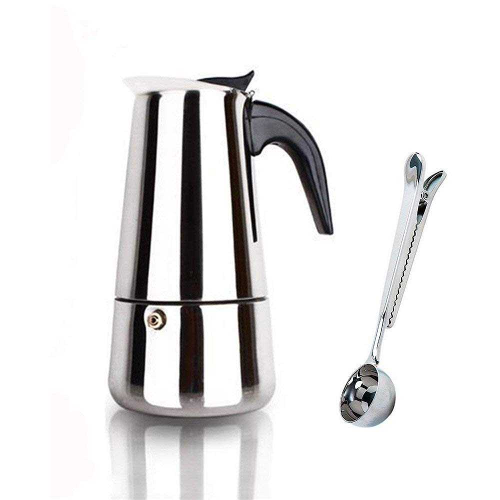Espresso Coffee Maker Pot Stovetop Moka Coffee Pot Stainless Steel Latte Cappuccino Percolator with Bonus Scoop for Home Hotel Office Gift, 2 Cups/100ML