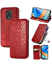 Miagon Xiaomi Redmi Note 9 Fashion Wallet Case,Retro PU Leather Book Flip Cover Protective Shockproof Bumper with Magnetic Card Slots Stand Function,Red